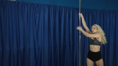 Sexy Girl On The Pole Stock Footage