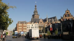 Grote Markt square and Stevens church,Nijmegen,Netherlands Stock Footage