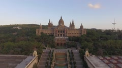 Aerial Museu national D'Art Catalunya  in Barcelona Stock Footage
