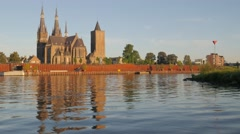 Martinus church on Maas river,Cuijjk,Netherlands Stock Footage