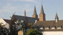 Statue in historical centre,Kleve,Germany Stock Footage