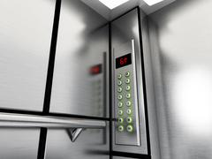 Elevator panel with buttons and LCD display. 3D illustration Piirros