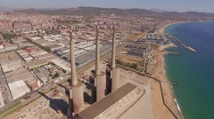 Aerial abandoned CHP in barcelona near the sea Stock Footage