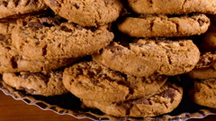 A pile of chocolate chip cookies. Stock Footage