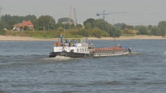 River transport ships on Waal river,Druten,Netherlands Stock Footage