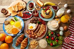 Breakfast buffet full continental and english Stock Photos