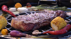 Roasting T-Bone Steak on Barbecue Grill Stock Footage