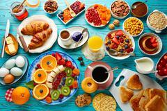 Breakfast buffet healthy continental coffee Stock Photos