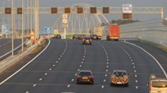 Highway with evening traffic,Muiden,Netherlands Stock Footage
