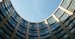 European parliament building court Stock Footage