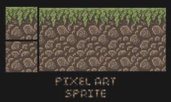 Vector pixel art texture of stone dirt land with grass platformer sprite Piirros
