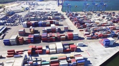 Aerial view of big cargo port Stock Footage