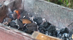Kindle the fire and coals with a gas torch. Preparing the grill for the barbecue Stock Footage