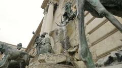 BUDAPEST -detail of San Matthias fontain Stock Footage