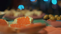 Appetizers On A Celebratory Table Stock Footage