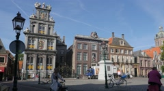 Roode Steen square with westfries Museum monument,Hoorn,Netherlands Stock Footage