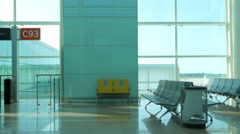 Empty  and desolated modern airport Stock Footage