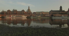 Drone rises to show Dresden skyline Stock Footage