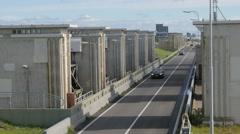 Locks in Afsluitdijk causeway,Den Oever,Netherlands Stock Footage