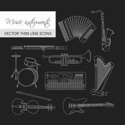 Music instruments thin line icon set for web and mobile. Stock Illustration