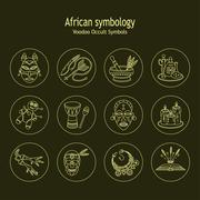 Voodoo African and American magic vector line icons. Stock Illustration