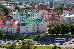 Medieval town of Vyborg from above Stock Photos