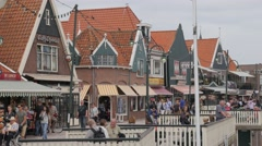 Historical houses in harbour,Volendam,Netherlands Stock Footage
