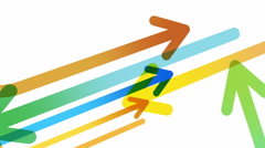 Arrows background. Loop between 6 seconds to 41 seconds. Multi-color on white. Stock Footage