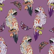 Zentangle stylized cartoon parrot. Stock Illustration