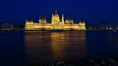 Time lapse of Budapest National Parliament illuminated at night. Stock Footage