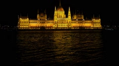 Budapest National Parliament illuminated at night. Danube river Stock Footage