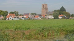 Old town with church tower,Noord Holland,Netherlands Stock Footage