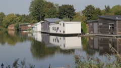 Houseboats on lake,Noord Holland,Netherlands Stock Footage