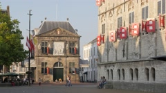 The Waag house on market square,Gouda,Netherlands Stock Footage