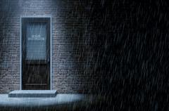 Private Eye Door Outside Rain Stock Illustration