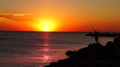 Fishing at sunset at Azov sea Stock Footage