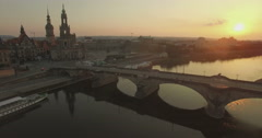 Aerial camera descends over the Elbe River, Dresden Stock Footage