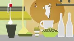 Bahrain - Vector Menu - Restaurant - Food and Drinks - yellow Stock Footage