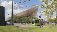 Modern central railway station with trams,Rotterdam,Netherlands Stock Footage