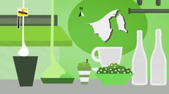 Brunei darussalam - Vector Menu - Restaurant - Food and Drinks - green Stock Footage
