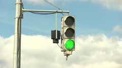 Street Traffic Red Light, Yellow Light, Green Light With Blu Sky And Clouds Stock Footage