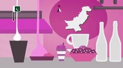 Pakistan - Vector Menu - Restaurant - Food and Drinks - pink Stock Footage