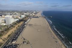Beach Aerial Santa Monica California Stock Photos