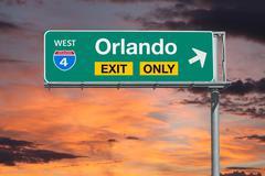 Orlando Florida Exit Only Freeway Sign with Sunrise Sky Kuvituskuvat