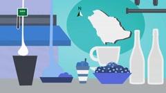 Saudi Arabia - Vector Menu - Restaurant - Food and Drinks - blue Stock Footage