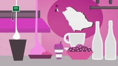 Saudi Arabia - Vector Menu - Restaurant - Food and Drinks - pink Stock Footage