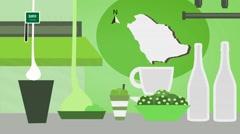 Saudi Arabia - Vector Menu - Restaurant - Food and Drinks - green Stock Footage