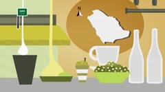 Saudi Arabia - Vector Menu - Restaurant - Food and Drinks - yellow Stock Footage