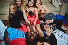 Selfie of posh friends Stock Photos