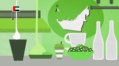 United Arab Emirates - Vector Menu - Restaurant - Food and Drinks - green Stock Footage